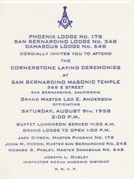 A.D.1958 San Bernardino California Masonic history Blue Lodge178 A.D.