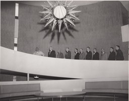 Circular ramp to the second floor of San Bernardino Masonic Temple 1959